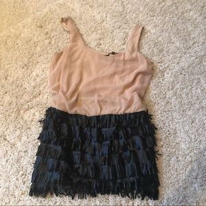 BCBGMAXAZRIA leather fringe mini dress NWT